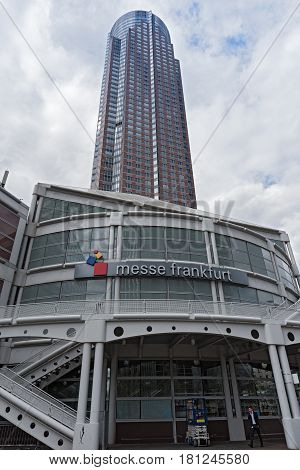 FRANKFURT, GERMANY - MARCH 11, 2017: Entrance fairground Frankfurt with messeturm