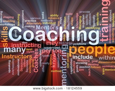 Background concept wordcloud illustration of coaching glowing light