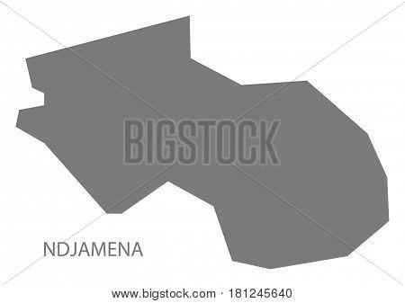 Ndjamena Chad Region Map Grey Illustration Silhouette