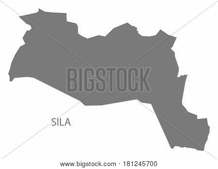 Sila Chad Region Map Grey Illustration Silhouette
