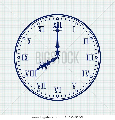 Clock face with roman numerals. Blue vector illustration on notebook sheet background