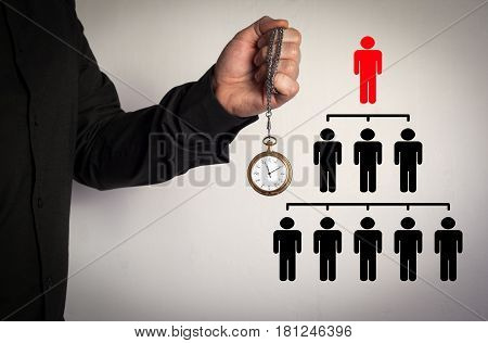 People pyramid with one leader at the top and silhouettes at all levels, business concept. Red Arrow and Icons Around. Man holding chain clock on white background