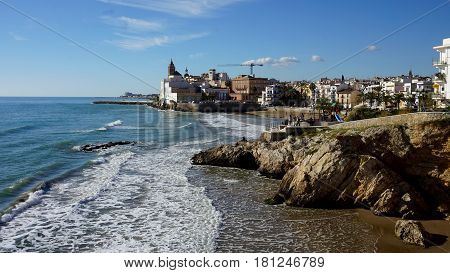 Views of San Sebastian beach in Sitges