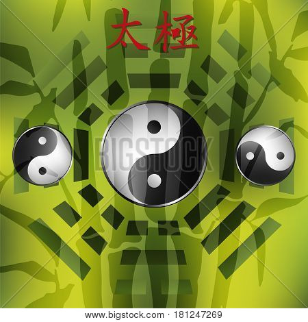 Bagua with bamboo background. Tai chi hieroglyphs. Yin yang sighn.