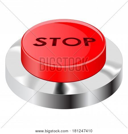 Stop button. Red push icon with chrome frame. Vector illustration isolated on white background