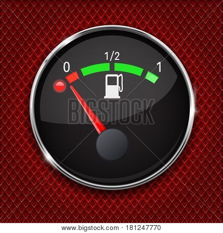 Black fuel gauge with chrome frame. Empty tank. Vector 3d illustration on red perforated background