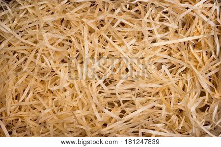 Wood background. Closeup of wooden shavings for packing.