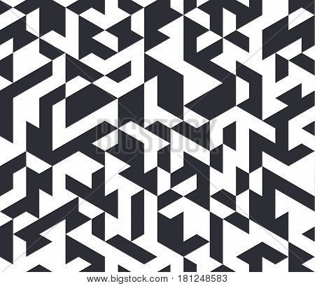Irregular black and white abstract geometric pattern with triangles and hexagons, vector illustration.