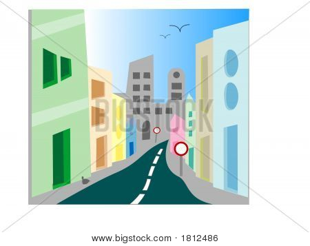 Urban City Street Scene - Vector Illustration