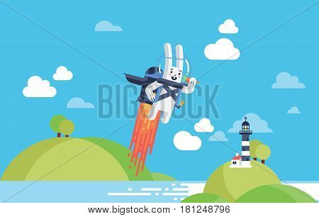 Progress, Achievement and Startup Development Project Concept with Flying Rocket Jetpack Rabbit Launching in Sky over Beach Front in Material Vector