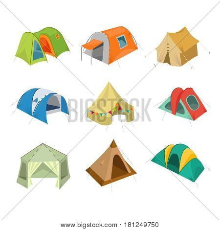 Set of camping tent icon. Vector illustration with tourist bivouac isolated on white background.