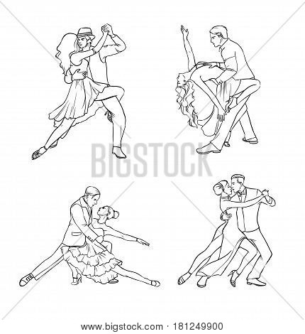 Set of a couple dancing tango. Hand drawn contour illustration