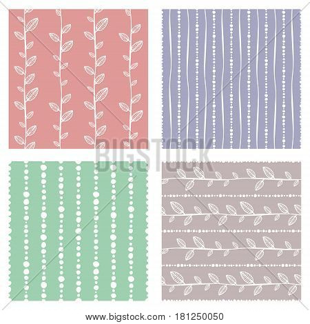 Set Of Seamless Vector Pattern. Colorful Hand Drawn Endless Background With Ornamental Decorative El