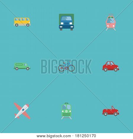 Flat Car, Omnibus, Transport And Other Vector Elements. Set Of Auto Flat Symbols Also Includes Train, Passenger, Vehicle Objects.