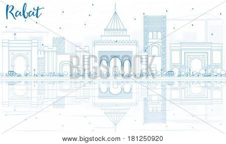Outline Rabat Skyline with Blue Buildings and Reflections. Business Travel and Tourism Concept with Historic Architecture. Image for Presentation Banner Placard and Web Site.