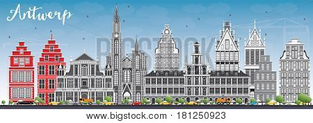 Antwerp Skyline with Gray Buildings and Blue Sky. Business Travel and Tourism Concept with Historic Architecture. Image for Presentation Banner Placard and Web Site.