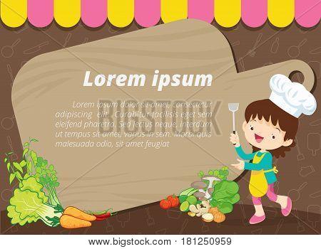 Cute kids meal menu vector template.little chef cartoon template