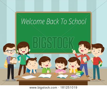 Welcome Back To SchoolGroup of students in classroom.