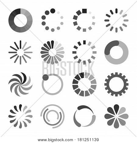 Loading Icons Set on White Background. Vector