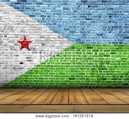 Djibouti flag painted on brick wall with wooden floor