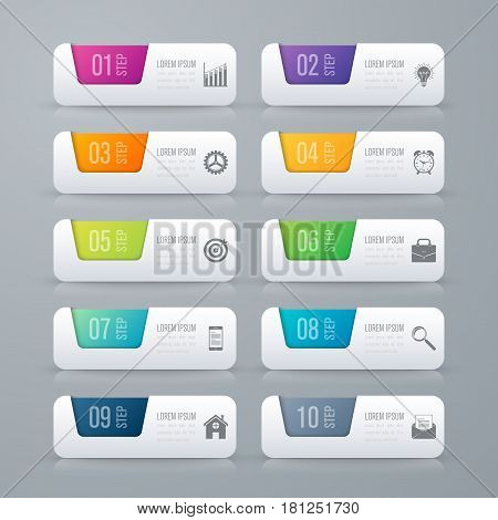 Infographic design template. Business concept with 10 options, parts, steps or processes. Can be used for workflow layout, diagram, number options, web design.
