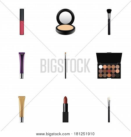 Realistic Blusher, Brow Makeup Tool, Multicolored Palette And Other Vector Elements. Set Of Cosmetics Realistic Symbols Also Includes Cosmetics, Lipstick, Palette Objects.