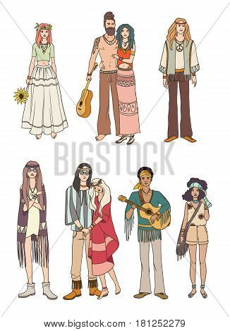 Set of various hippie people in different clothes on white background. Colorful vector illustration