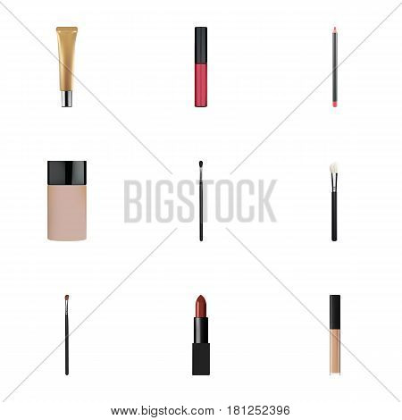 Realistic Eye Paintbrush, Liquid Lipstick, Make-Up Product And Other Vector Elements. Set Of Maquillage Realistic Symbols Also Includes Blush, Cosmetics, Contour Objects.