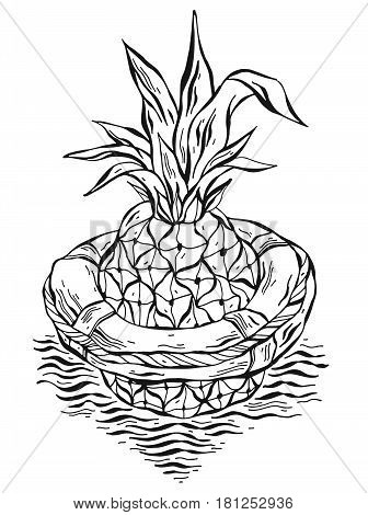 Hand drawn vector graphic illustration of pineapple floating in lifebuoy in ocean waves.Black and white illustration of tropical exotic fruit.Beach background.Design for summer card templatesign