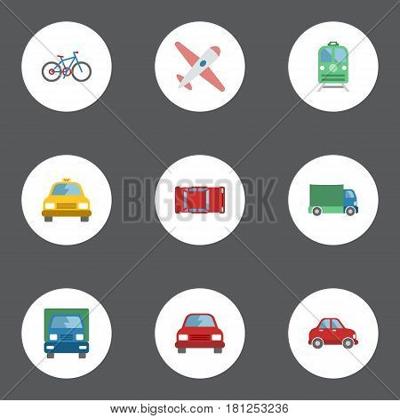 Flat Lorry, Car, Automotive And Other Vector Elements. Set Of Vehicle Flat Symbols Also Includes Cab, Aircraft, Electric Objects.