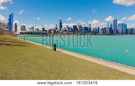 Michigan lake in Chicago City illinios USA