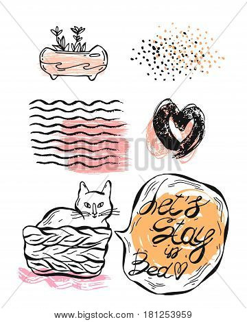Hand drawn vector graphic illustration set of cat in pottle with speech bubble and let's stay in bed phrase, textured ink hearts, colored glitters, weaves texture, and succulent in pot.Cute design element