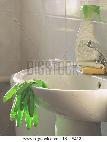 cleaning, Cleanliness, Cleaning products and tools on the sink