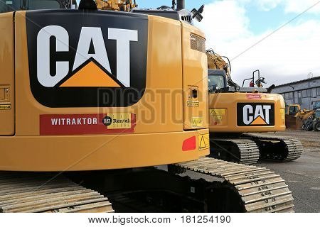 LIETO FINLAND - MARCH 25 2017: Detail of Cat construction equipment with signage displayed at the public event of Konekaupan Villi Lansi Machinery Sales.
