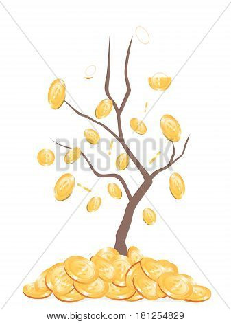 the background of money falling from tree