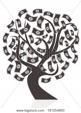 isolated black money tree on white background