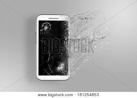 The old smartphone is disintegrating. Conception of passage of time and obsolete technology