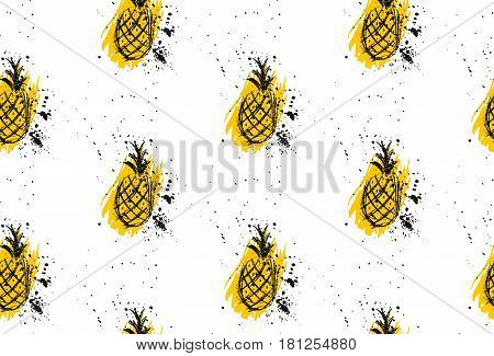 Vector seamless pineapple textured pattern in retro style.Fruit patternsummer printsummer repeat patternfruit background.Pattern Design for banner poster card invitationpartytextile.