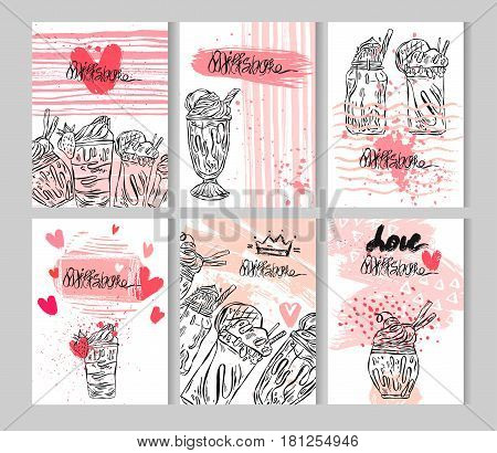 Hand drawn vector abstract color illustration card set of milkshakes in glass, chocolate, cherry, vanilla milk shake dessert, fruit smoothie, protein shake.Design for kids menu, milk shake cafe, candy shop.