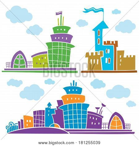 Set of different fantastic houses. Use it for Exterior construction designs including city buildings. Beautiful castle, modern cottages and colorful cityscape. Isolated on a white background. part 2