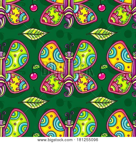 Seamless endless summer floral pattern. Cheerful tropical butterflies, decorative leaves, and juicy cherries isolated on color background. Vector can be used as wallpaper or wrapping paper for kids.