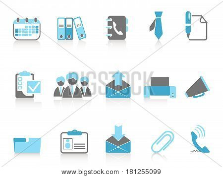 isolated office and business icons in blue series