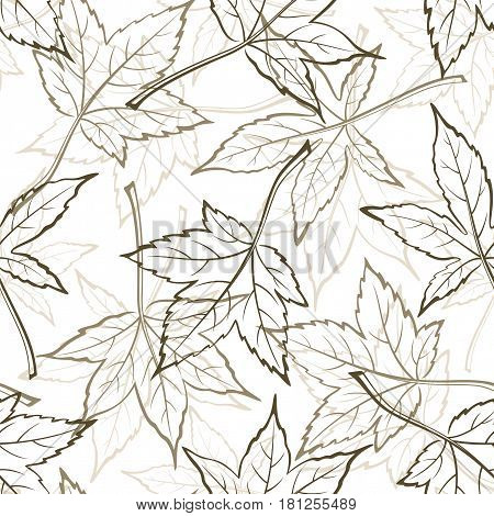 Seamless Background with Pictogram Leaves of Liquidambar Styraciflua or Maple Tree, Tile Nature Pattern. Vector