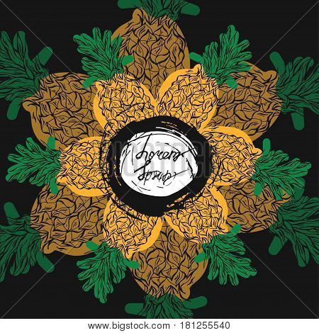 Hand drawn vector summer pineapple card template on black background with place for your text.Design for business card, greeting, party, poster, home decor, fruit store, organic farm, shop, cocktail menu.