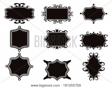 isolated black retro frames set from white background