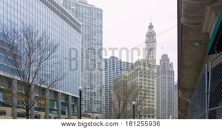 Skyscrapers in Chicago with white sky, Illinois USA