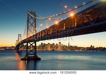 Bay Bridge, San Francisco Skyline, Downtown San Francisco, California, Usa