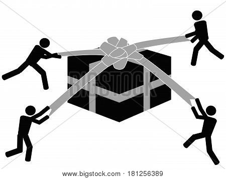 Some symbol unpacking the gift box on white background