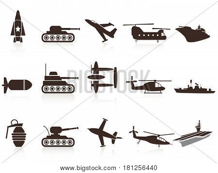 Isolated black war weapon icons set on white background