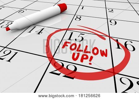 Follow Up Calendar Words Appointment Reminder 3d Illustration